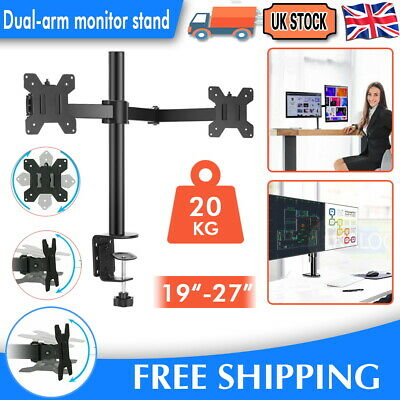£16.99 • Buy 13-27  Double Dual Display Computer Screen Monitor Arm Mount Desk Stand LED SPCC