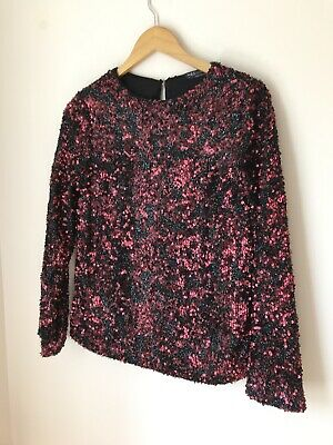 £3.99 • Buy M&S Top UK 6 NWT RRP £35 Red Sequin Long Sleeve Party Cocktail 70s Occasion