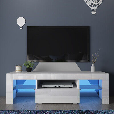 £10.50 • Buy White High Gloss TV Stand Cabinet Cupboard Unit Large Drawer Glass Shelf LED
