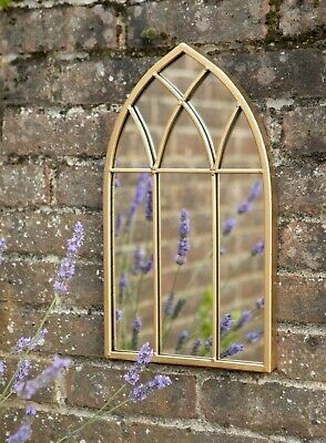 £34.95 • Buy Gold Arched Gothic Window Metal Distressed Wall Mirror Home Or Garden Decor