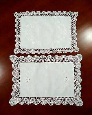 £9 • Buy Two Vintage Hand Embroidered Lace Edge White Table Mats