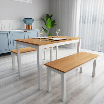 £75.99 • Buy Natural Pine Wooden Dining Table Set With 1 Bench 1 Chair Seat Kitchen Furniture