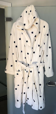 £7.50 • Buy Joules Ladies Women's Cosy Fleece Dressing Gown Bathrobe White With Stars, L/XL