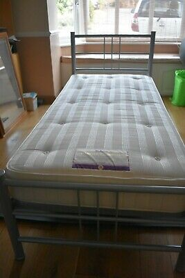 £80 • Buy Single Bed And Relyon Mattress. Silver Frame And Wooden Slats. Hardly Used.