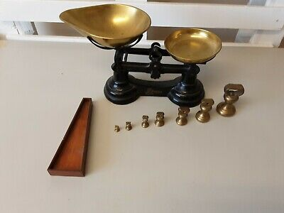 £25 • Buy Vintage Cast Iron Librasco Kitchen Scales Brass Colour With Weights