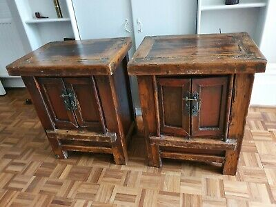 £250 • Buy 2x Rustic Antique Chinese Wooden Bedside Cabinets Side Tables
