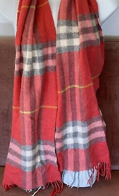 £20.22 • Buy Burberry Scarf Pink Coral Check  100% Cashmere. 100% Authentic.