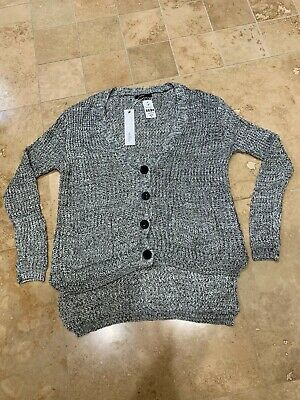 $20 • Buy Millau Heather Grey Button Front Knit Cardigan Sweater Size S Small $158 NWT