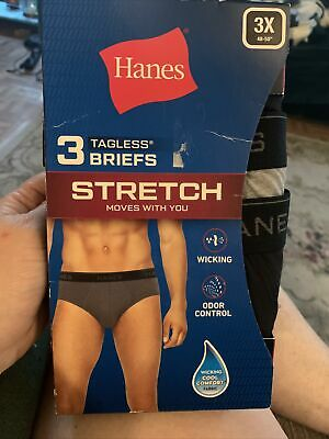 £5.54 • Buy Hanes Men's Tagless Briefs Black Gray Size 3X Wicking Cool Odor Control Fabric