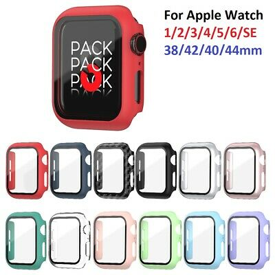 £3.85 • Buy For Apple Watch 1 2 3 4 5 6 SE Screen Protector HARD Case Cover Tempered Glass