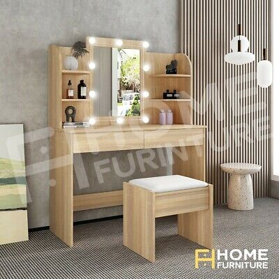 AU209.50 • Buy Oak Dressing Table Mirror Stool Jewellery Cabinet Makeup Drawer With LED Bulbs
