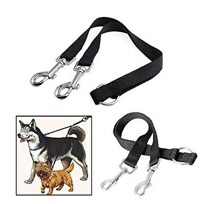 AU10.47 • Buy Pet 2-WAY LEATHER DOG LEAD DOUBLE LEASH SPLITTER WITH CLIPS COLLAR HARNESS A5W