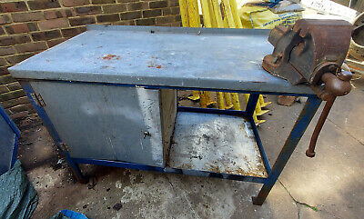 £205 • Buy Used Heavy Duty Workshop Metal Workbench With Large Bench Vice