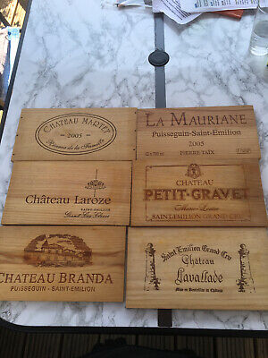 £15.99 • Buy 6 Wooden Wine Box Crate Ends Decoration Plaque Home Bar French St Emillion