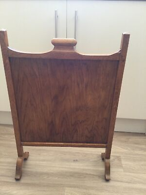 £12 • Buy Art Deco Solid Oak  Free Standing Fire Screen 29.5 Inches High & 22 Inches Wide