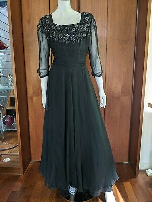 £50 • Buy Vintage 1950's Silk Chiffon And Beaded Evening Gown Size 12 - 14