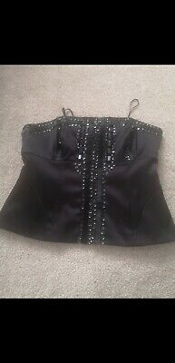 £9.99 • Buy Next Womens Black Satin Corset With Back Zip & Button Fastener. Size 14