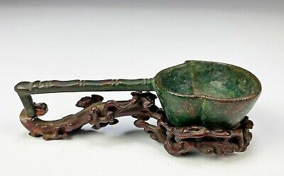 £3.98 • Buy Very Early Antique Chinese Bronze Spoon Ladle With Fine Carved Wood Stand