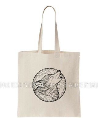 £5.99 • Buy Eco Shopping Bags 150gsm 5oz 100% Cotton Totes Reusable Halloween Howling Wolf