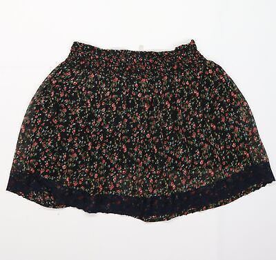 £7 • Buy EVIE Womens Black Floral Chiffon Flare Skirt Size 10