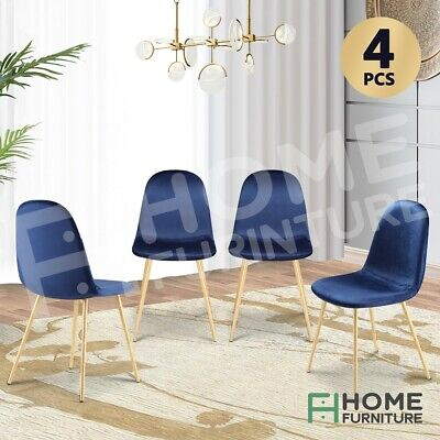 AU149.50 • Buy Dining Chairs Soft Fabric Velvet Chair Seat Cafe Office Modern Metal Leg Blue X4