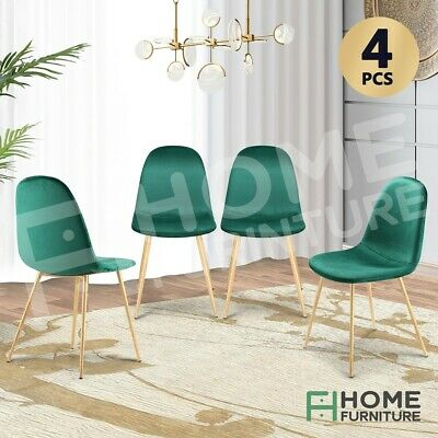 AU159.50 • Buy Dining Chairs Soft Fabric Velvet Chair Seat Cafe Office Modern Metal Leg Greenx4