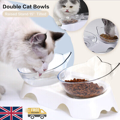 £5.79 • Buy Pet Food Double Bowl Stand Cat Dog Dual Water Feeding Bowl Raised 15° Tilted UK