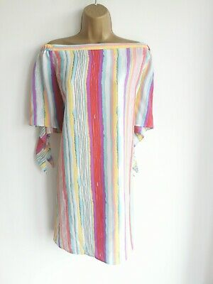 £0.99 • Buy Peacocks Size 18 Stunning Off Shoulder Stripped Dress Short Casual Summer...
