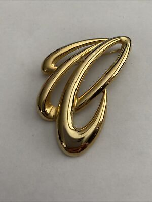 $5.98 • Buy Freeform Whimsical Swirl Brooch Pin Signed M JENT Gold Tone
