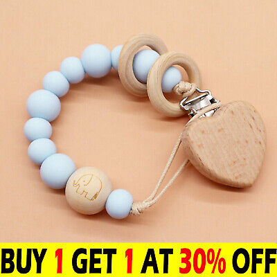 £5.89 • Buy Wooden Ring Dummy Clips Pacifier Chain Holder Baby Teething Toys BPA Free UK