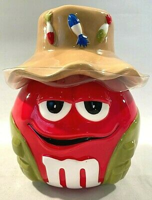 $29.99 • Buy M&M Ceramic Candy Cookie Jar With Lid 8  Tall 2006 Fishing Hat With Lures