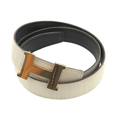 £239.25 • Buy HERMES H Waist Belt White Gold Leather France Square B Authentic #AE158 O