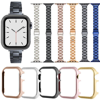 $ CDN7.89 • Buy For Apple Watch Series 6 SE 5 4 3 2 Stainless Steel Wristwatch Straps Case Cover