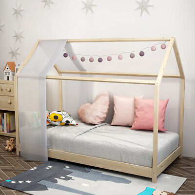 £69.25 • Buy 160CM Treehouse Single Bed Wooden Frame 3FT Kids Sleeper Pine House Low Canopy