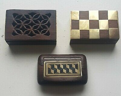£19.50 • Buy ANTIQUE BOXES 3x Antique Brass Trimmed Wooden Snuff Boxes. VGC.