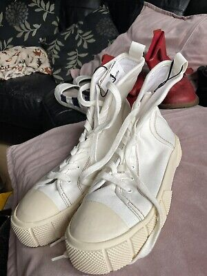 £7 • Buy Zara White Flatform Lace Up Baseball Ankle Canvas Boots Size 7 BNWT Sneakers