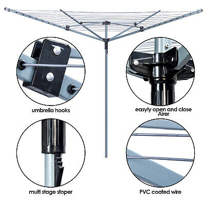 £32.99 • Buy 50M Rotary Airer Washing Line 4 Arms Clothes Dryer Folding Outdoor Garden Spike