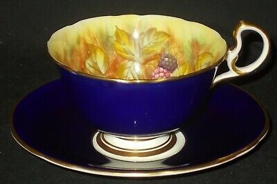 £49 • Buy Aynsley ORCHARD GOLD FRUITS Cobalt Blue Cabinet Cup And Saucer By D Jones