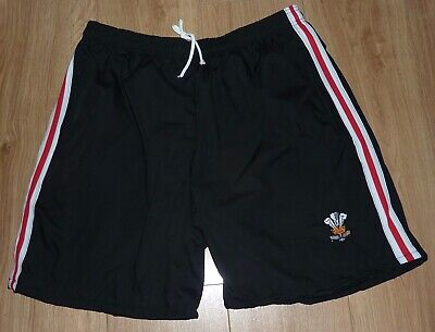 £11.99 • Buy WALES RUGBY-Sports/Casual Shorts-36 Waist-BLACK/RED/WHITE-Embroidered-NEW