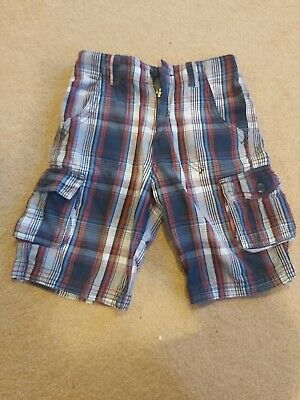 £0.99 • Buy Boys Cotton Checked Shorts With Adjustable Waist Age 5-6 Years