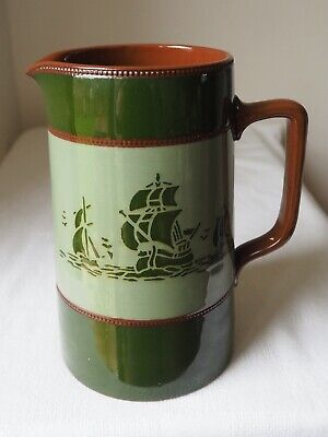 £15 • Buy Vintage Terracotta Water Jug With Stencil Style Ships