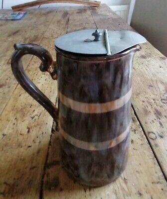 £15 • Buy Antique Gibsons Mottled Pottery Jug With Removable Metal Lid