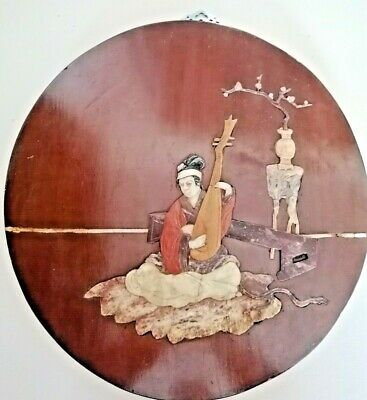 £35 • Buy 1920s CHINESE WOOD WITH INLAID CARVED SOAPSTONE - MAN PLAYING MANDOLIN - 30CM