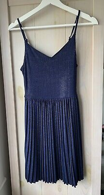 £4.50 • Buy New Hollister Navy Blue Sparkle Stretch Dress - Strappy With Pleated Skirt - XS
