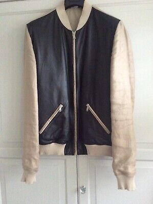 £225 • Buy Mens Dolce & Gabbana Linen And Leather Jacket  Size 54 Italian