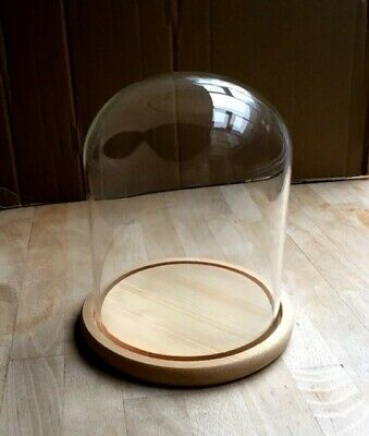 £19.90 • Buy Large Quality Glass Dome / Bell / Cloche With Wood Base (Natural Colour)