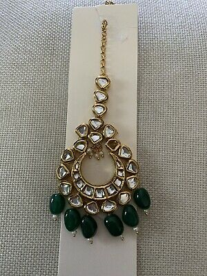 $19.95 • Buy Indian Wedding Jewelry Forehead Tikka With White And Green Pearls