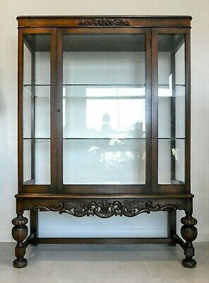 AU799 • Buy 1920s Antique Glass China Display Cabinet Upholstered Burr Bevelled Glass + Key