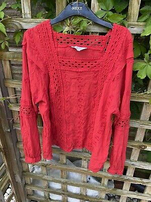 £5 • Buy Nine Savannah Miller Red Peasant Cut Out Hippy Boho Top Size 18 Broderie