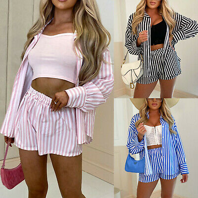 £22.95 • Buy Women's Ladies Striped Button Up Collared Top Shorts Summer Two Piece Co Ord Set